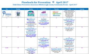 CBHC Pinwheels for Prevention Events Calendar 2017